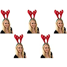 2 er Set aus Elchgeweih Rentier Haarreif Weihnachtsmütze Rot Grün Geweih