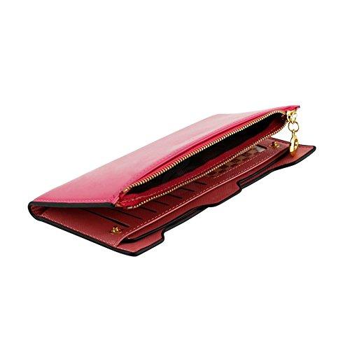 41CSXYSddmL - CHIC-CHIC Women Vintage Clutch Wallet Button Card Holder Lady Long Handbag Bag Case Purse (Rose)