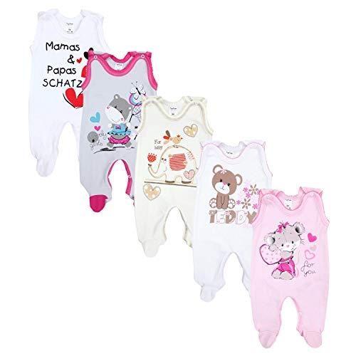 TupTam Unisex Baby Strampler mit Aufdruck Baumwolle 5er Set, Farbe: Mädchen 2, Größe: 56