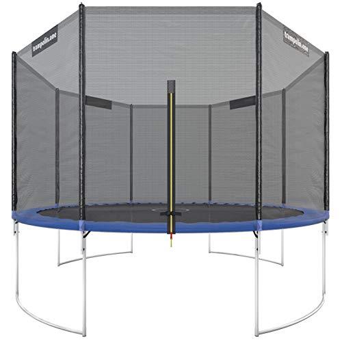 Trampolin.one by Ultrasport Trampoline de jardin Starter, trampoline pour enfant, set complet avec tapis de saut, filet de sécurité et revêtement pour les bords, Bleu, 366 cm