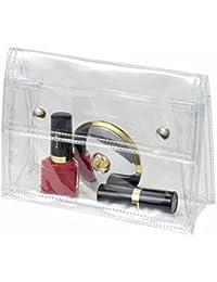 HALFAR - lot de 3 pochettes - trousse de toilette maquillage transparente à pressions 1800772