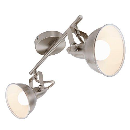 Briloner Leuchten Lámpara de Techo, diseño Retro/Vintage en satén Blanco, iluminación de...