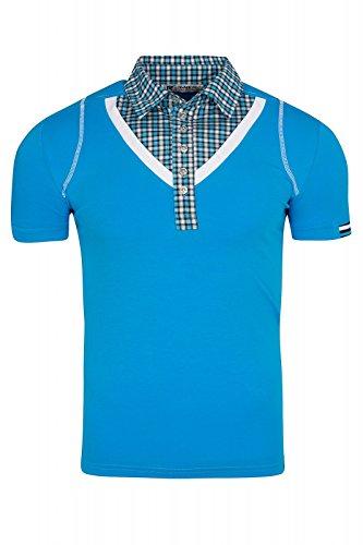 Rusty Neal Collar Shirt Herren T-Shirt Kurzarm-Shirt Blau mit Hemd-Kragen, Größenauswahl:XL (Lycra-hemd)