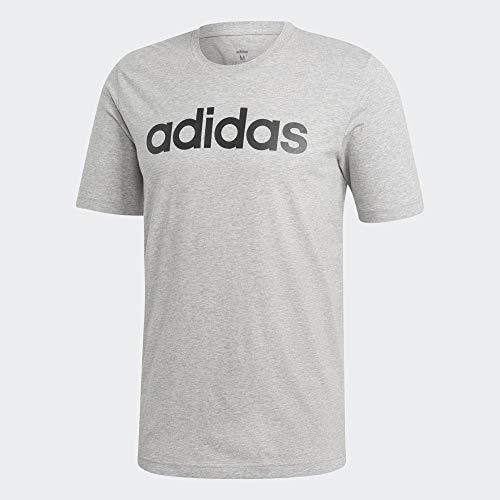 Adidas essentials linear t-shirt, t-shirts uomo, medium grey heather/black, 2xl