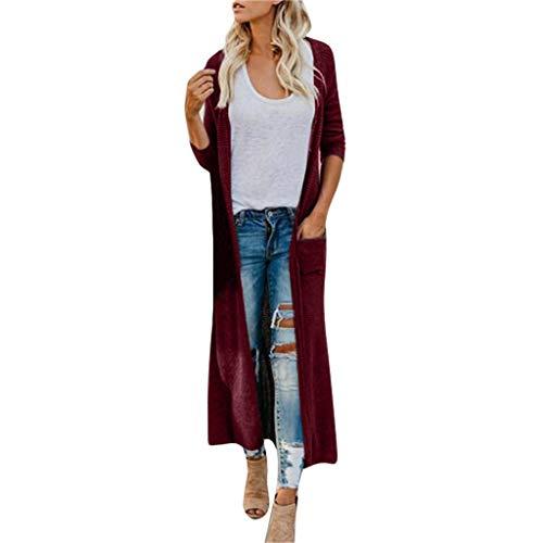 LUGOW Damen Jacken Boho Langarm Button-Down-Vordertasche Lange Strickjacke Mantel Oberbekleidung Cardigans Sweater Bluse Pullover Coat Jacket Günstig(XX-Large,Weinrot) -