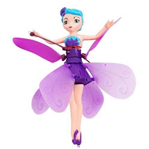 Modaka Induction fée Magique Princesse poupées Infrarouge lumière Suspension Volante poupée Jouets Mini RC Drone Fille Enfants Cadeau Figure Jouets (Violet)