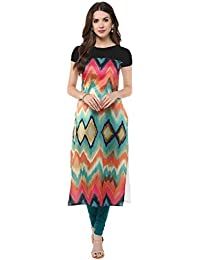 AUCREATIONS Woman's Straight Cut Digital Printed Crepe Kurti