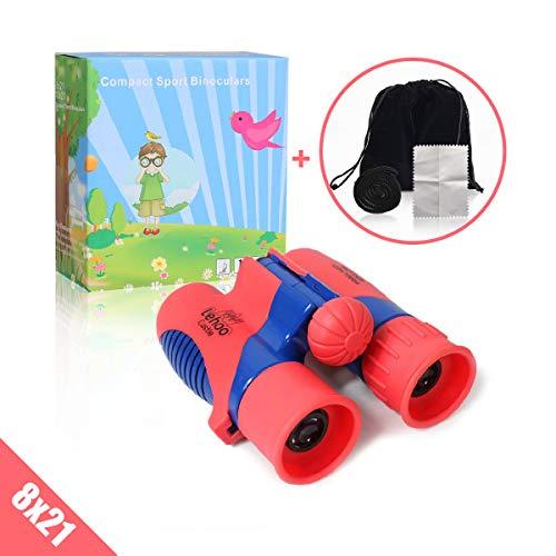 Lehoo Castle - Binocolo per bambini 8x21 Shock Proof giocattolo, con cinghia, per ragazze con effetto ad alta risoluzione, ideale per osservazione di uccelli, caccia, giochi all'aperto, bambini