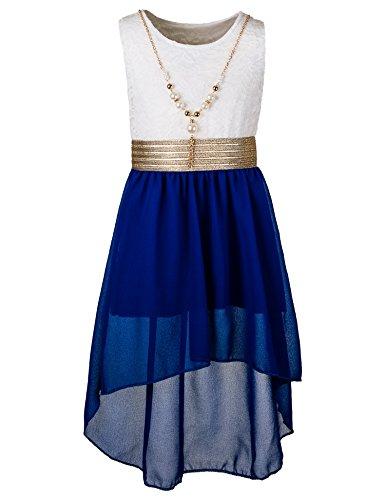Unbekannt Kinder Sommer Fest Kleid für Mädchen Sommerkleid Festkleid mit Kette in vielen Farben M288wbl Weiss Blau Gr. 16/164