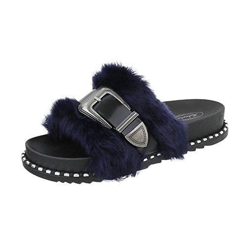 Scarpe da donna Sandali piatto Infradito Ital-Design nero blu 838