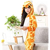 Kids Kigurumi Cat Winter Flanner Onesie Animal Pajamas Homewear Costume Jumpsuit HNBY (Color : Giraffe, Size : M)