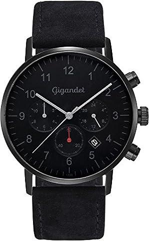 Gigandet Herrenuhr Minimalism II Armbanduhr Edelstahl Herren Zwei Zeitzonen GMT Analog Datum Lederarmband Uhr Schwarz Grau G21-004