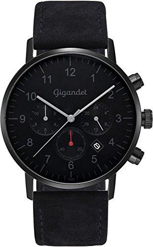 Gigandet Minimalism II G21-004 - Reloj de pulsera de acero inoxidable y correa de cuero para hombre, con dos zonas horarias GMT, analógico, fecha, color negro y gris