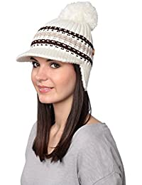 Royal Women's Fiallo Winter Warm Knit Hat With Visor And Pompom