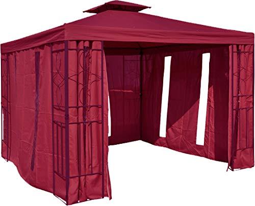 habeig Pavillon Seitenteile Bordeaux mit Fenster & Reißverschluß an JEDER Seite Pavillion grau