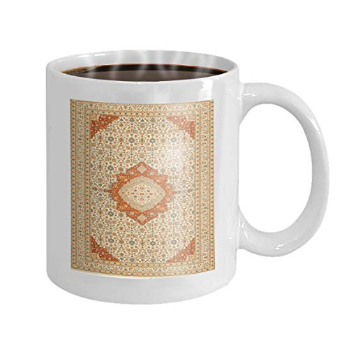 11 oz Coffee Mug persian oriental carpet intricate flower details motifs very traditional central medallion edited blue beige Novelty Ceramic Gifts Tea Cup -