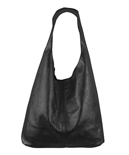 Freyday Damen Ledertasche Shopper Wildleder Handtasche Schultertasche Beuteltasche Metallic look (Schwarz Metallic) - Schwarz Metallic Tasche Handtasche