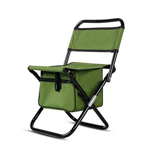 Lovehouse Faltbar Campingstuhl hocker Mit kühltasche, Mini Angelstuhl Portable Faltstuhl klappstuhl Mit Back,Kleine Außen Arbeitshocker-Grün
