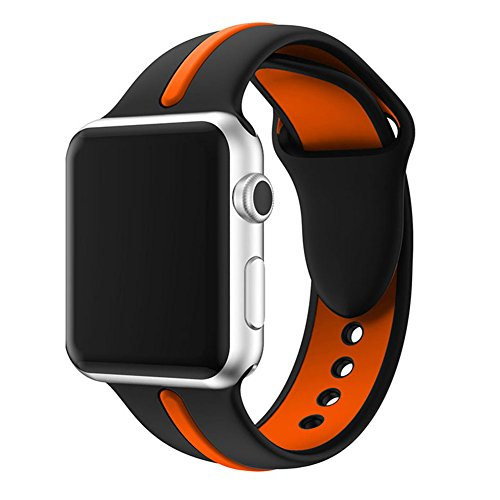 Wengerui Apple Watch Armband 42mm Weichen Silikon Sport Replacement Wrist Band Uhrenarmband für Apple Watch Series 3/Series 2/Series 1 (42mm, Schwarz/Orange)