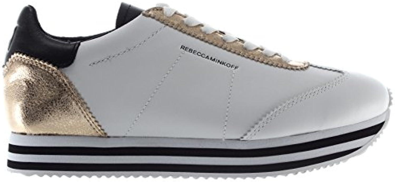 Rebecca Minkoff Scarpe Donna scarpe da ginnastica RMSZLK01 RMSZLK01 RMSZLK01 WPLT Susanna Pelle Bianco oro New | Stravagante  | Uomini/Donne Scarpa  7111dc