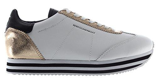 Rebecca Minkoff Chaussure Femme Sneakers RMSZLK01 WPLT Susanna Cuir Blanc Or New