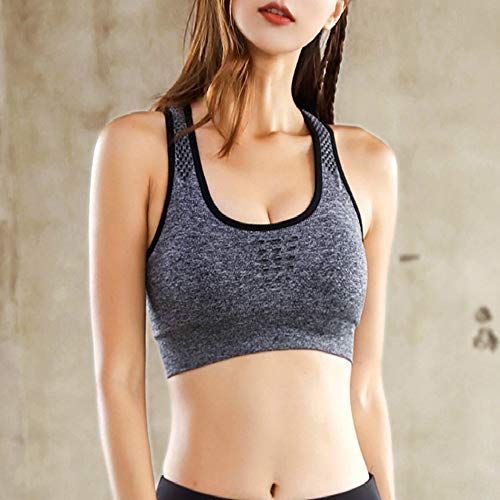 WSJIABIN No Steel Ring, Breathable Yoga Vest, Running Sports Underwear, Women's Seamless Hollow Back, Shockproof Sports Bra