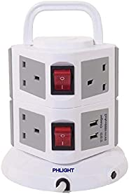 PHLIGHT Vertical Power Strip 2 layers, 7 outlets with 2 USB ports, Gray, PH-612UK