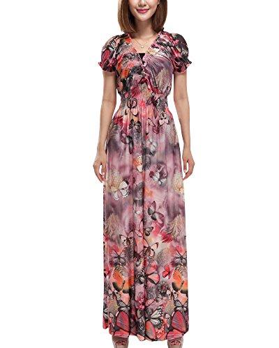 Moollyfox Femme Maxi Robe Longue, Bohême Casual Robe de Plage- Grande Taille de Robe - Col V - Manches Courte Rouge