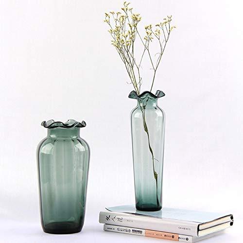 AQUYY Glasmalerei Vase Ruffled Beauty Vase Wohnzimmer Tischdekoration Modern Home Zweiteilige Ruffled Glas