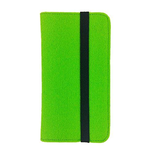 handy-point Universell Organizer für Smartphone Tasche aus Filz Filztasche Filzhülle Hülle Schutzhülle mit Kartenfach für Samsung, iPhone, Huawei (5,3-5,5 Zoll max 16,5 x 8,3cm, Grün hell)