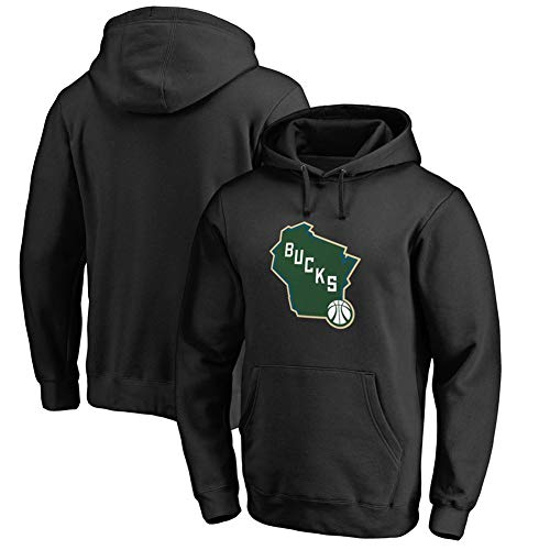 HS-HUWENHUI Basketball League/Milwaukee Bucks Basketball Team City Pullover Für Kapuzenpullover Mit Praktischem Kängurutaschen-Fan-Kostüm,Schwarz,S160~165CM (Kostüm Milwaukee)