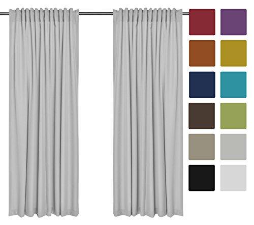 2er Set einfarbige Verdunkelungsvorhänge Blickdicht Gardinen (RENO Grau 51, 140x150 cm - BxH) verdunkelung Vorhang Gardine mit Tunnelband, 2 Stück lichtundurchlässig Vorhänge für Wohnzimmer Schlafzimmer Kinderzimmer