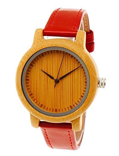 Handgefertigte Holzwerk Germany® Designer Damen-Uhr Mädchen-Uhr Öko Natur Holz-Uhr Leder Armband-Uhr Analog Klassisch Quarz-Uhr in Rot
