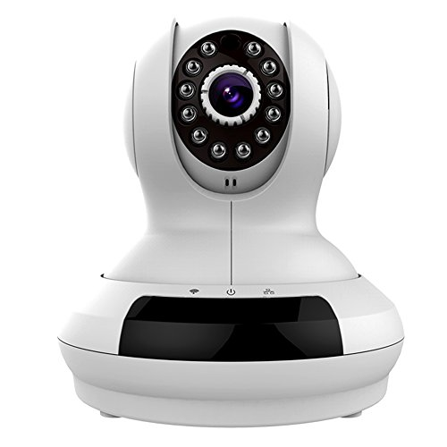 IP Cámara IC368 Alámbrica / Inalámbrica Wi-Fi de Video del Bebé / de Animal Doméstico del Monitor HD 720P Seguridad, Alarma Detección Movimiento, Visualización Remota, Compatible con iOS y Android,Slot Tarjeta Micro SD(Blanco)-Milool
