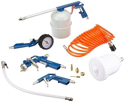 Scheppach 7906100723 8-teiliges Druckluft-Werkzeug-Set, + Farbspritzpistole, Sprüh- und Reinigungspistole, Reifenfüllmessgerät, Ausblaspistole, Spiralschlauch und Düsen