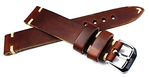 RIOS1931 19mm / 16mm BS braun kräftiges Rindsleder Military Style Armband Retro Look quality STRAP Flieger Band Top Qualität