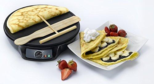 Melissa Crepes Maker Profi für Crepes, Burrito und Wraps 1000 Watt inklusive Ziehspartel und Holzstick plus Oramics Schöpfkelle 30cm Durchmesser Pfannkuchen Maker antihaftbeschichtet -
