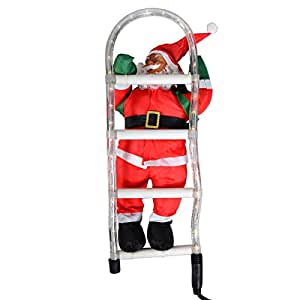 weihnachtsmann an leiter santa claus nikolaus. Black Bedroom Furniture Sets. Home Design Ideas