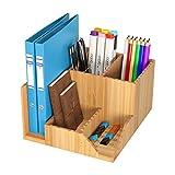 Homfa Organizzatore Scrivania Portaoggetti Pratico Organizer in bambù 5 Spazi per Cancelleria Porta Penne Documenti (21,5x18,5x11,7cm)