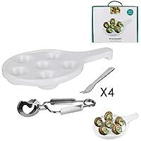 WEB2O Coffret utensilio para Caracoles 12Piezas cerámica y Acero Inoxidable