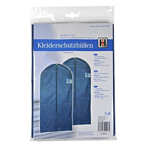 Kleidersäcke - 2 Stück - 135x62cm - blau - für Lagerung und Transport - neu (Kleidersack Tasche 2)