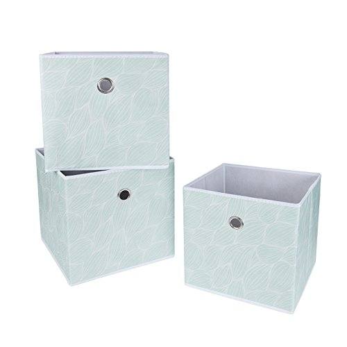 SbS Collapsible Foldable Fabric Storage Boxes, Cubes, Bins, Baskets. Mint  Green Leaf