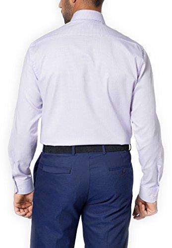 Eterna long sleeve Shirt COMFORT FIT Natté structured lillà/bianco