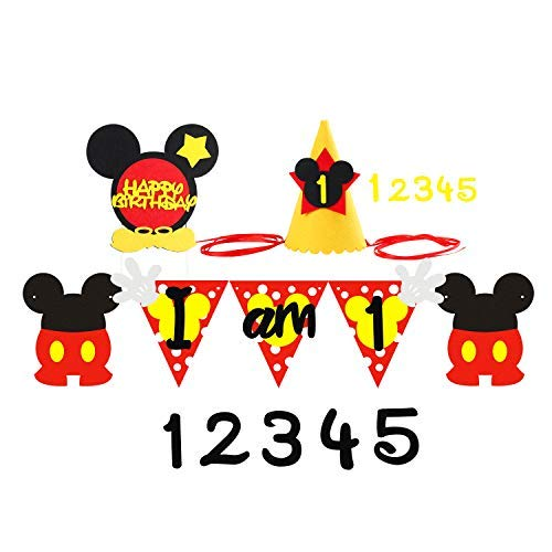 BEYUMI Mickey 1st Birthday Party Banner with Party Hat and Happy Birthday Cake Topper, Mickey Themed Party Decoration Kit for 1-5 Year Old Kids (Mickey Happy Birthday)