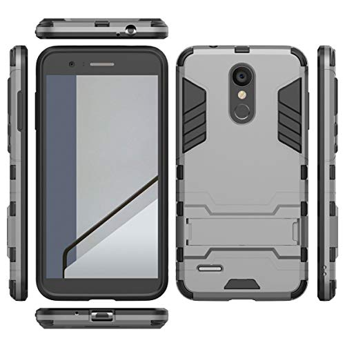 tinyue® Handyhülle für LG K9, Hülle 2 in 1 Material Harte Schwer doppelte kratzfester Handyfall im Freienhandyfall Iron Man Rüstung mit Kickstand Case, Grau -