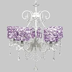 Jubilee Collection 7552-2423 5 Light Grace Chandelier with Lavender Rose Garden Drum Shades, White