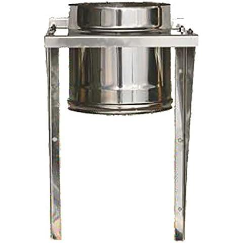 MISTERMOBY TUBO CERTIFICATO IN ACCIAIO INOX CON SUPPORTO A MURO CANNA FUMARIA DA 160 MM