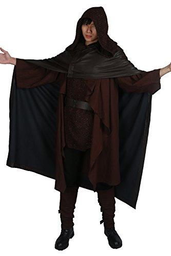 Cosplay Outfit SW 8 Schwarz Robe mit Umhang Tunic Gürtel für Jedi Erwachsene Halloween Kleidung (Luke Skywalker Kostüm Kinder Schwarz)