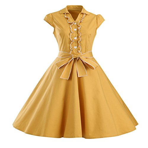 MILEEO Damen 50er Retro Herzform Knopf Rockabilly Kleid Kurzer Ärmel A-linie Kleider Gelb