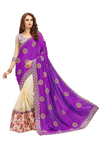 MARUTI saree for women silk net mirror purple saree sari (half and half Sari with Unstiched Blouse)Sarees (Women\'s Clothing Saree For Women Latest Design Wear New Collection in Latest With Designer B